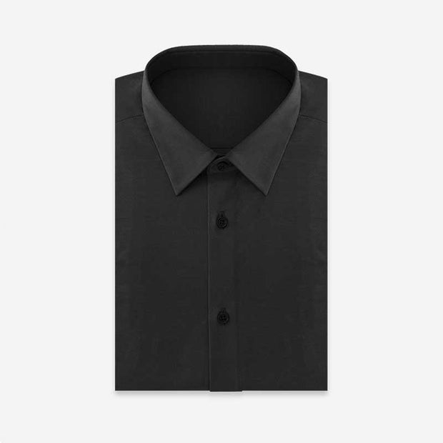Knight Black Super Stretch Knitted Cotton Customized Dress Shirt
