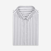 White Grey Wide Stripe Cotton Customized Dress Shirt