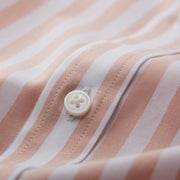 White Orange Wide Stripe Cotton Customized Dress Shirt