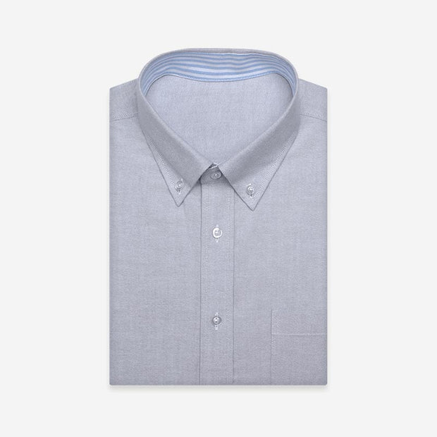 Light Grey Contrast Color Oxford Customized Cotton Dress Shirt