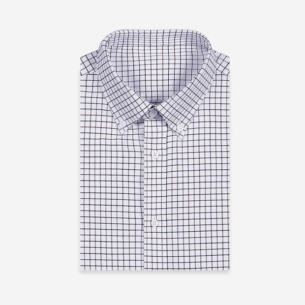 White Navy & Brown Mini Check 100% High Count Cotton Customized Dress Shirt