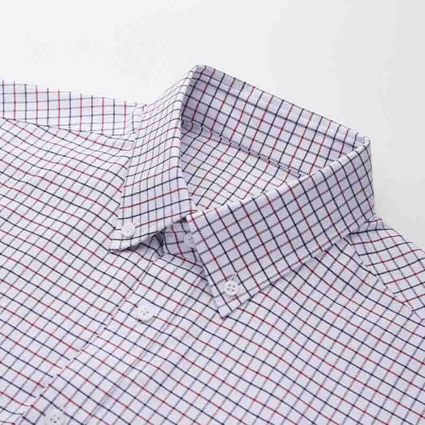 White Navy & Red Mini Check 100% High Count Cotton Customized Dress Shirt