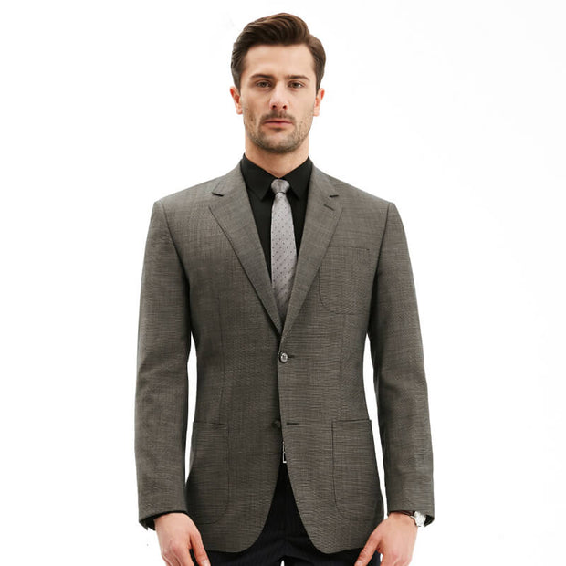 Grey Houndstooth Tailored Fit 100% Wool Customized Blazer