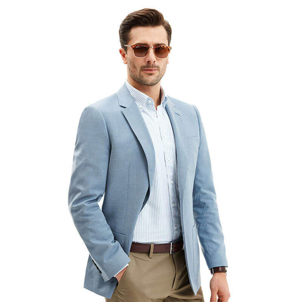 Medium Blue Twill Tailored Fit Stretch Fabric Customized Blazer