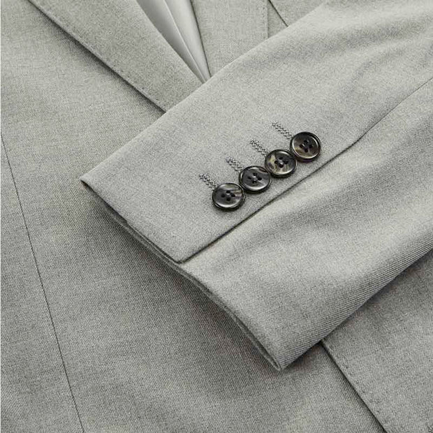 Light Grey Twill Tailored Fit Stretch Fabric Customized Blazer (Suit Set Available)