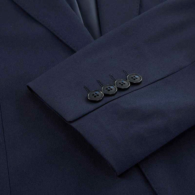 Navy Blue Twill Tailored Fit Stretch Fabric Customized Suit Set