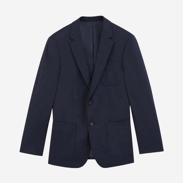 Navy Blue Twill Tailored Fit Stretch Fabric Customized Blazer (Suit Set Available)