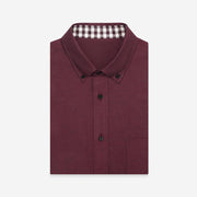 Vermeil Red Contrast Color Flannel Cotton Customized Dress Shirt