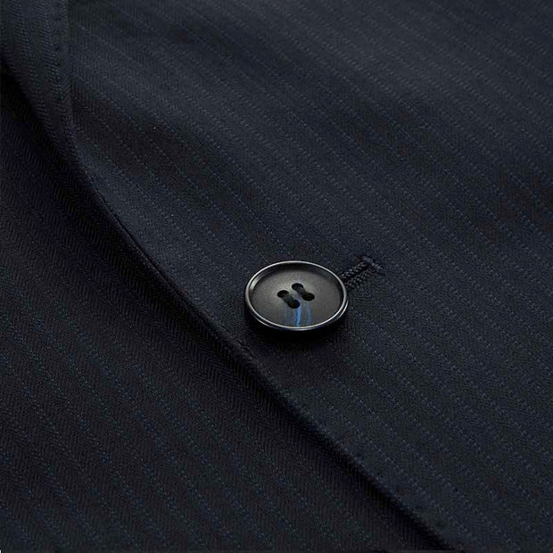 Navy Blue Fine Stripe Tailored Fit Wool Blended Customized Blazer