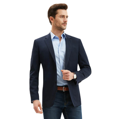 Navy Blue Tailored Fit Wool Blended Customized Blazer