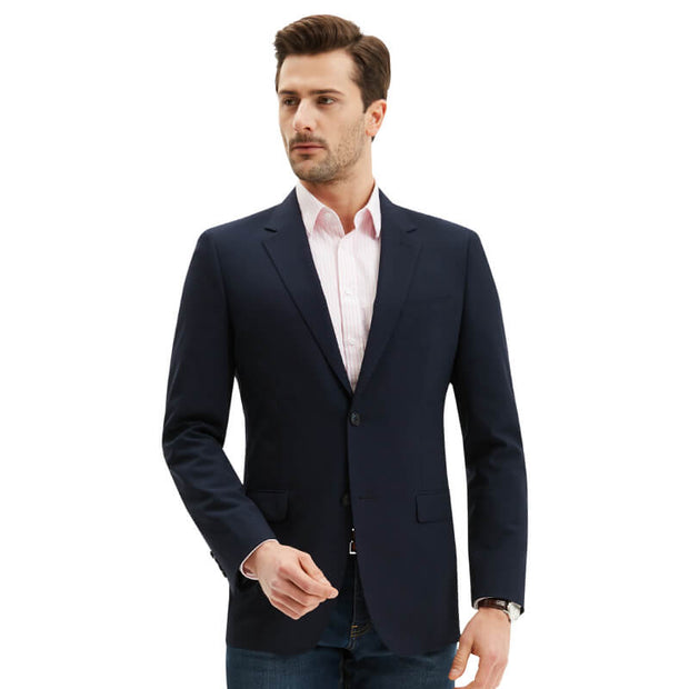 Navy Blue Jacquard Tailored Fit Stretch Fabric Customized Blazer