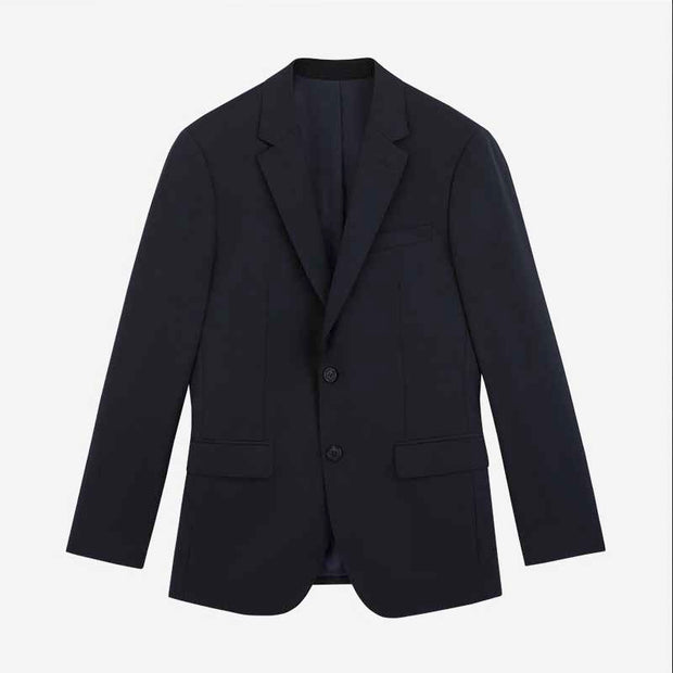 Dark Blue Tailored Fit Wool Blended Customized Blazer