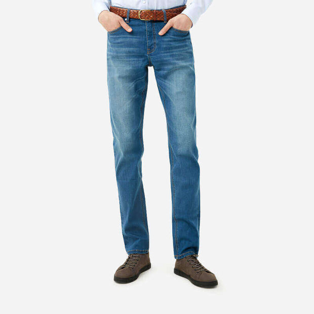 Light Wash Tailored Slim Taper Fit Super Stretch Jeans
