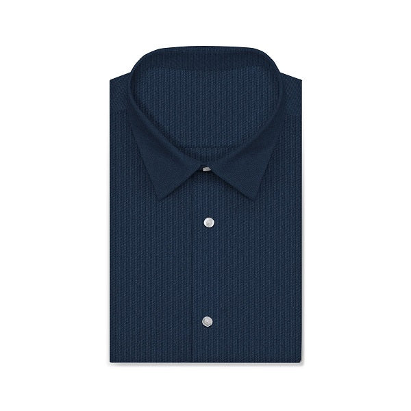 CVC Shadow Blue Twill Short/Long Sleeve Custom Cotton Blended Shirt