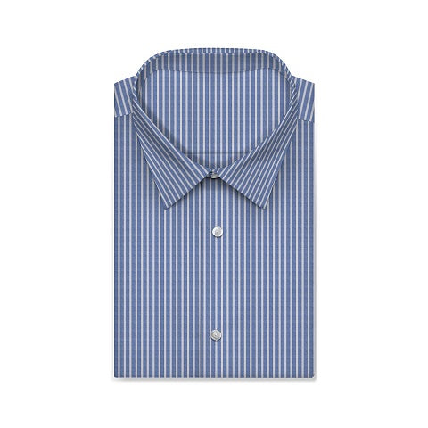 TWILL ROYAL Alice Blue Wide Stripe Short/Long Sleeve Custom Cotton Shirt