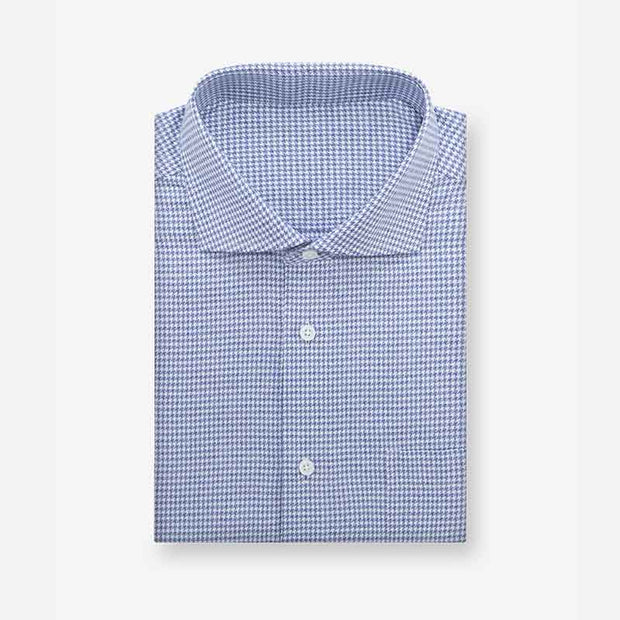 Indigo Houndstooth Cotton Customized Dress Shirt