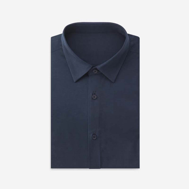Blaze Blue High Count Knitted Cotton Customized Dress Shirt