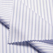 BULL White Blue Striped Short/Long Sleeve Custom Cotton Shirt