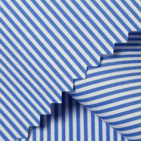 PUPPIS Luxury Sea Blue White Striped Short/Long Sleeve Custom Silk Cotton Shirt