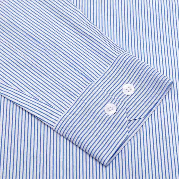 Delft Blue Fine Stripe Seamless High Count Cotton Customized Dress Shirt