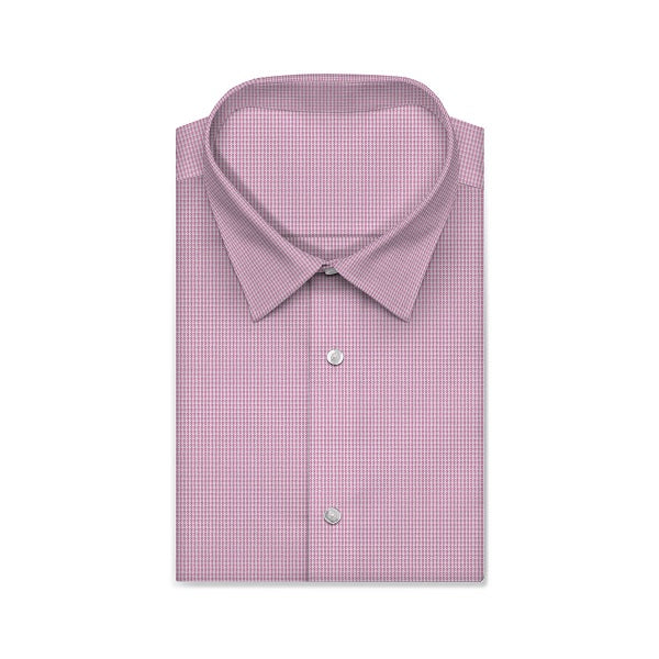 REGENT Pink Mini Checkered Short/Long Sleeve Custom Cotton Shirt