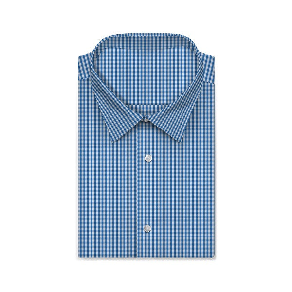 REGENT Pablo Blue Checkered Short/Long Sleeve Custom Cotton Shirt