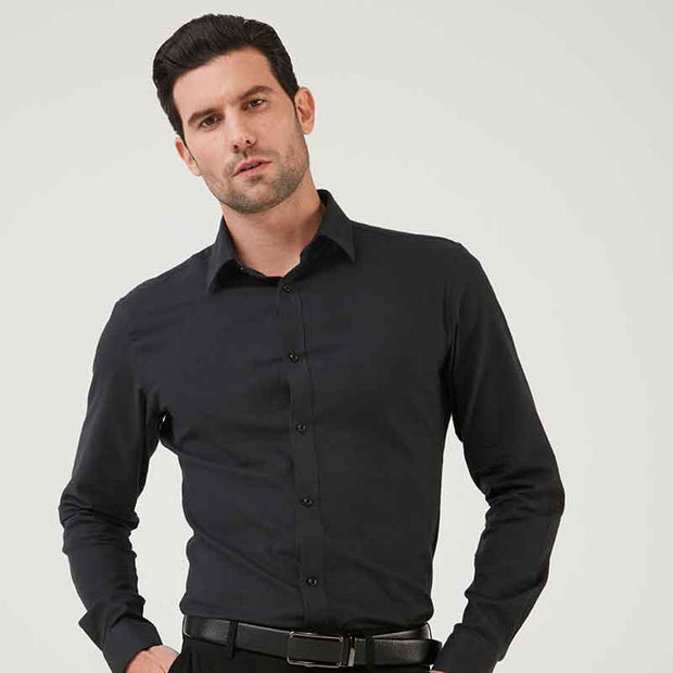 Charcoal Black Contrast Color Flannel Cotton Customized Dress Shirt