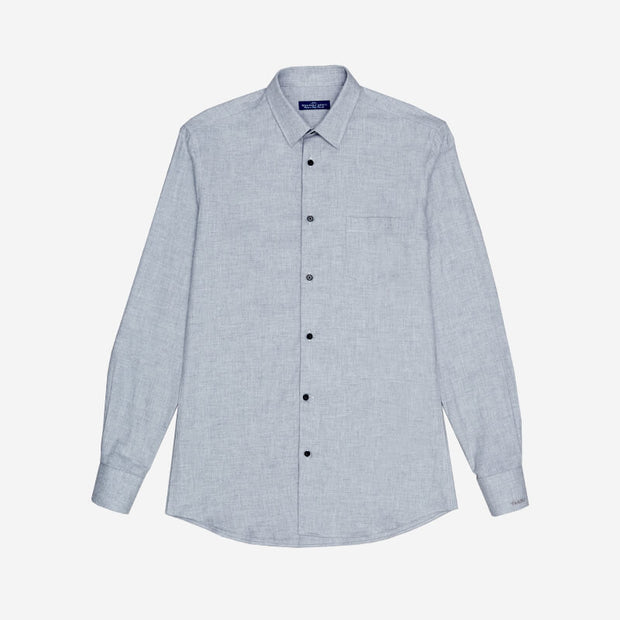 Monti Ash Grey Twill Brushed Cotton Customized Dress Shirt
