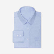 Non-Iron Azure Blue Houndstooth Cotton Customized Dress Shirt