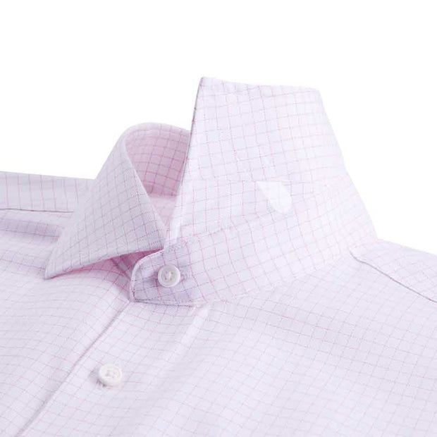 Non-Iron Clove Purple Mini Check Cotton Customized Dress Shirt
