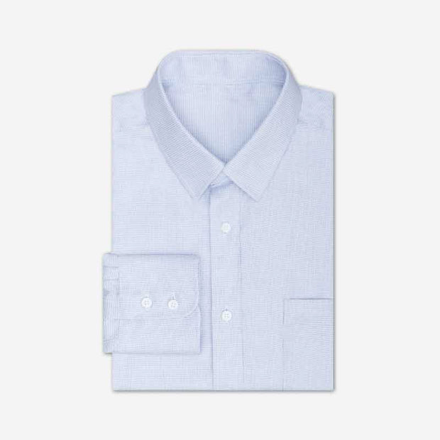 Non-Iron Indanthrene Blue Houndstooth Cotton Customized Dress Shirt