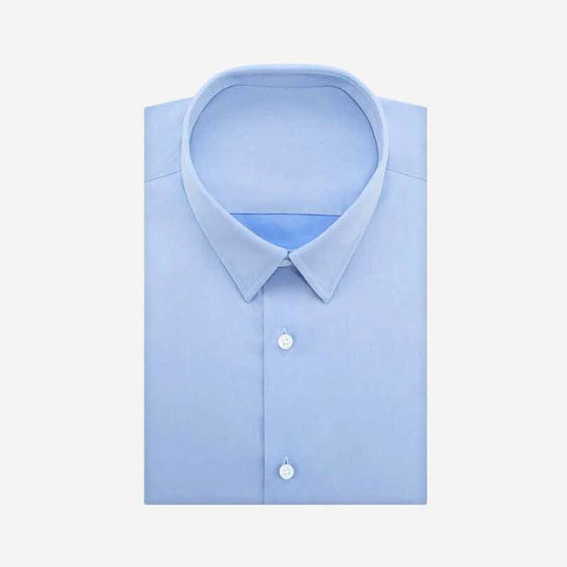 Non-Iron Medium Blue Twill Cotton Customized Dress Shirt