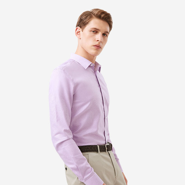 Non-Iron Orchid Purple Houndstooth Cotton Customized Dress Shirt
