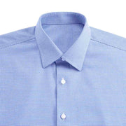 Non-Iron Paradise Blue Houndstooth Cotton Customized Dress Shirt
