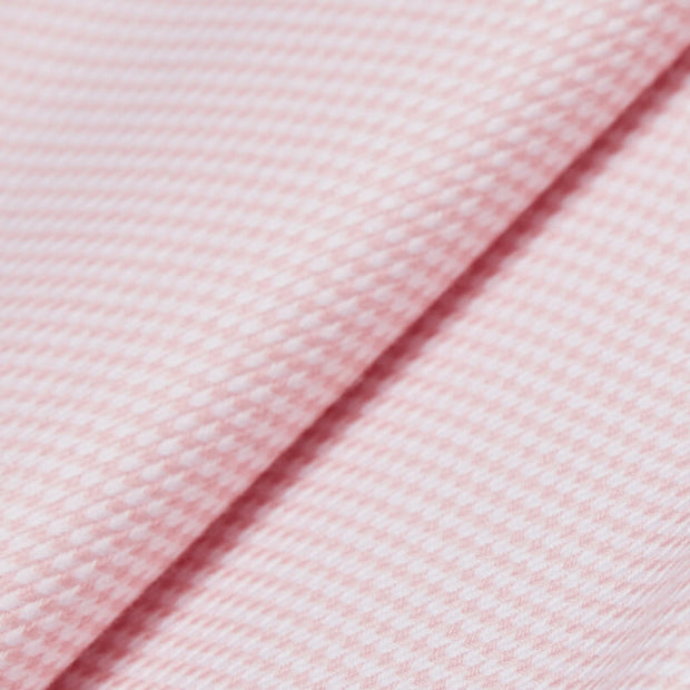 Non-Iron Pink Houndstooth Cotton Customized Dress Shirt