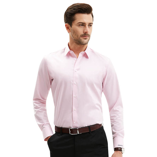 Non-Iron Pink Twill Cotton Customized Dress Shirt
