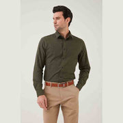 Olive Green Contrast Color Flannel Cotton Customized Dress Shirt