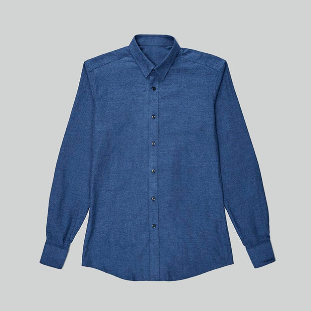 Peacock Blue Contrast Color Flannel Cotton Customized Dress Shirt