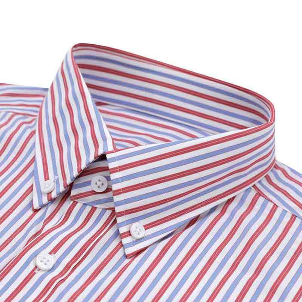 Rumba Red Stripe Bamboo Fiber Customized Dress Shirt