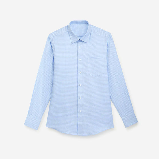 Sky Blue Houndstooth Cotton Customized Dress Shirt
