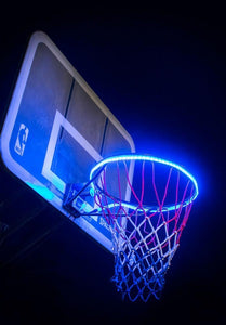 basketball rim is flashing blue with the HoopLight product