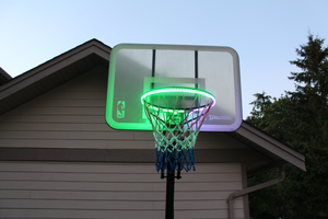 basketball rim is flashing green with the HoopLight product