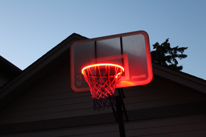 basketball rim is flashing red with the HoopLight product