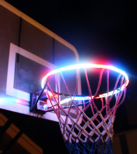 basketball rim is flashing blue and red with the HoopLight product