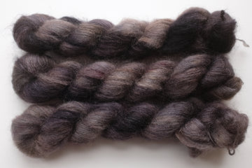 smoke - kidsilk lace - hand dyed 2 ply wool mohair silk - 50g