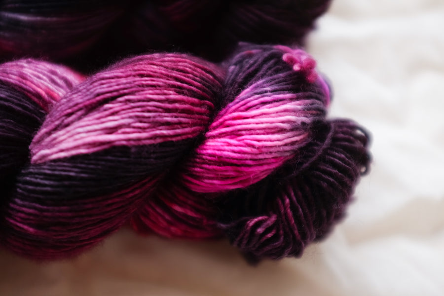 black cherry - merino singles -  hand dyed yarn 4ply fingering - 100g