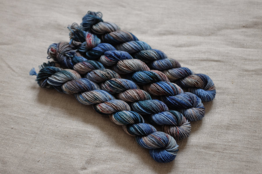 anne with an e mini skein set - sock blend - 4ply fingering hand dyed yarn - 5 x 20g