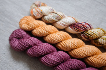 70s throwback trio - mini skein set - sock blend - 4ply fingering hand dyed yarn - 3 x 20g