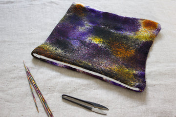 knitted pouch hand dyed yarn - warrior