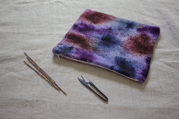 knitted pouch hand dyed yarn - tranquility